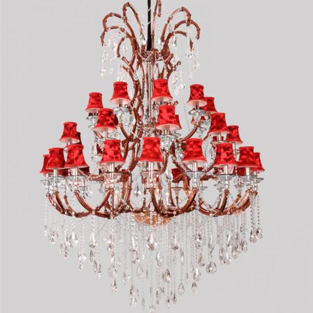 45-arm large church chandelier Led commercial lighting Resort Foyer pendant crystal chandelier red lampshade lustres de cristal