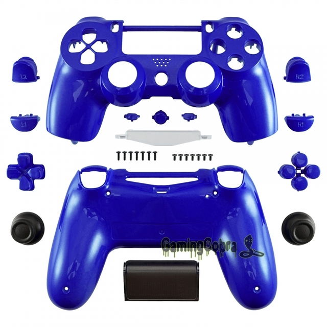 fb97fa89 Chrome Blue Full Housing Shell Buttons Replacement Parts for PS4 Controller  JDM-010 JDM-020