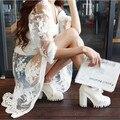 UY Floral Blanco Del Cordón Del Organza Gasa Abrir Stitch Cardigans Cardigans 2016 mujeres de la Manera Ocasional Protector Solar Capa Capas 1503109