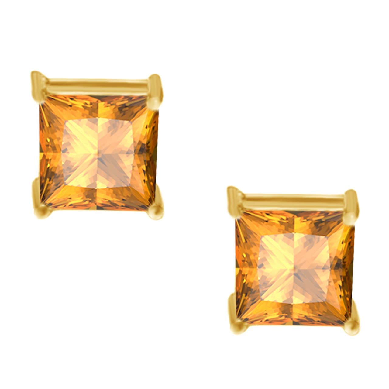 0.50 CT Canary Square Princess Cut 14k Yellow Gold Stud Earrings Screw Back все цены
