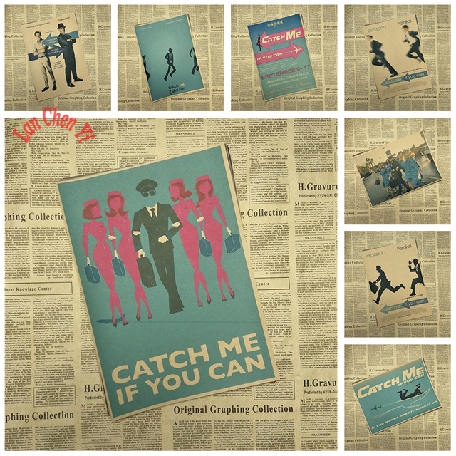 Matte Kraft Paper Movie Poster Catch Me If You Can Retro Wall