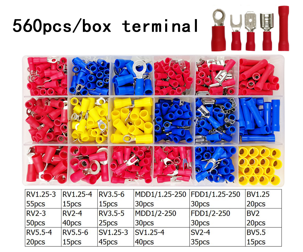 560pcs/box assorted full insulated fork U-type set terminals connectors assortment kit electrical wire crimp spade ring terminal560pcs/box assorted full insulated fork U-type set terminals connectors assortment kit electrical wire crimp spade ring terminal