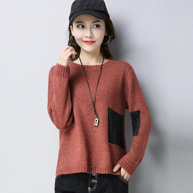Automne et hiver vêtements nouveau col rond coréen à manches longues pull court femmes tricot chemise de fond lâche mince grande taille