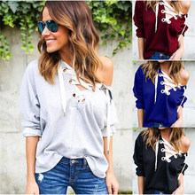 Plus Size S~XL Women Sweatshirt Winter Autumn Solid Hollow out Cross Lacing Pullovers Outwear Women hoodies Shirts Tops(China)