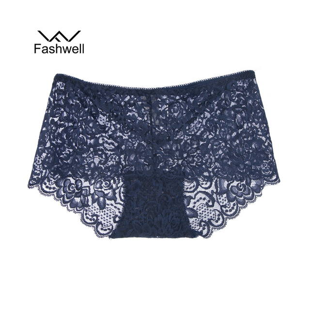 Fashwell Hollow Out Lace Solid Women Panties Sexy mid-rise Panties Ladies Underwear Briefs Lingerie M-2XL
