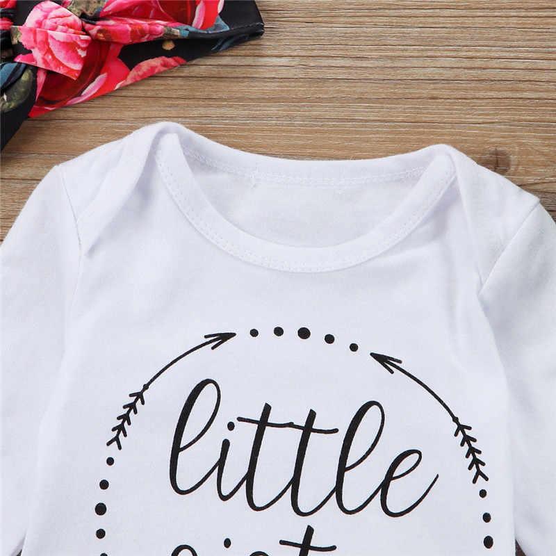 PUDCOCO najnowszy stany zjednoczone Newborn Baby dziewczyny topy + kwiat spodnie + pałąk 3 sztuk stroje zestaw odzież codzienna w wieku 0-18 M