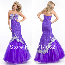 2014 New Purple Party Time Dress Lace Appliques Mermaid Dazzling Prom Fashion Evening