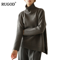Rugod Solid Women Sweater Turtleneck Pullovers 2017 Winter Sweater Women Long Sleeve Knitted Jumper Sueter Mujer