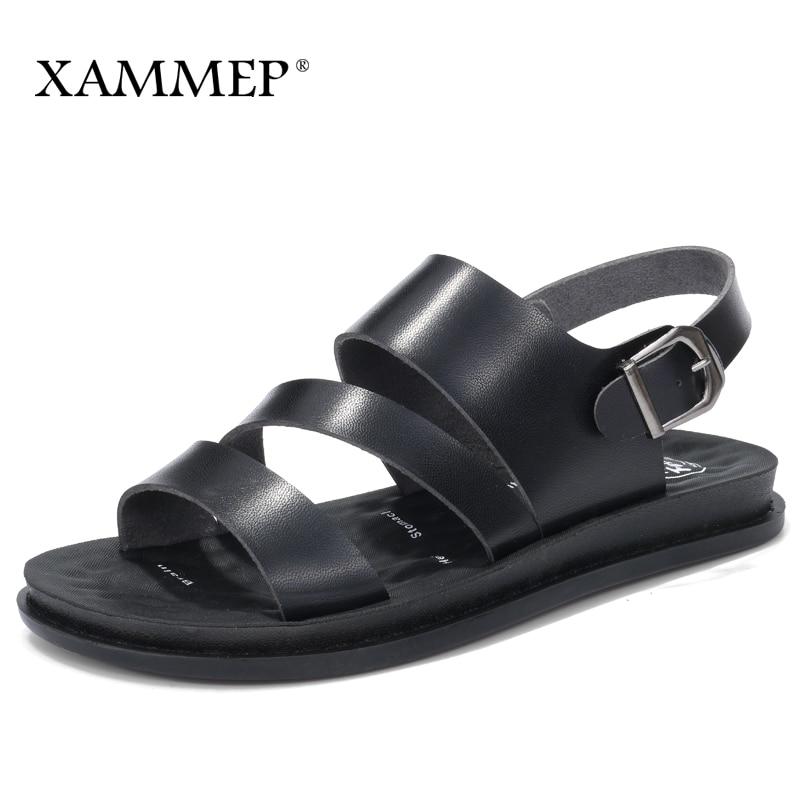 Xammep женские босоножки Для женщин пляжная обувь Брендовая женская повседневная обувь из натуральной Разделение кожа Для женщин Шлёпанцы дл... ...