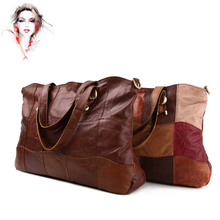 Vintage women first layer cowhide genuine leather patchwork oversize bag mother birthday gift casual lady messenger bag WN011