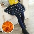 2016 Nuevo Invierno Niña Estrella Polainas de Las Muchachas pantalones de Las Faldas Falda de Terciopelo Niñas Pantalones Calientes Niños Polainas de La Falda-pantalones de Malla Legging