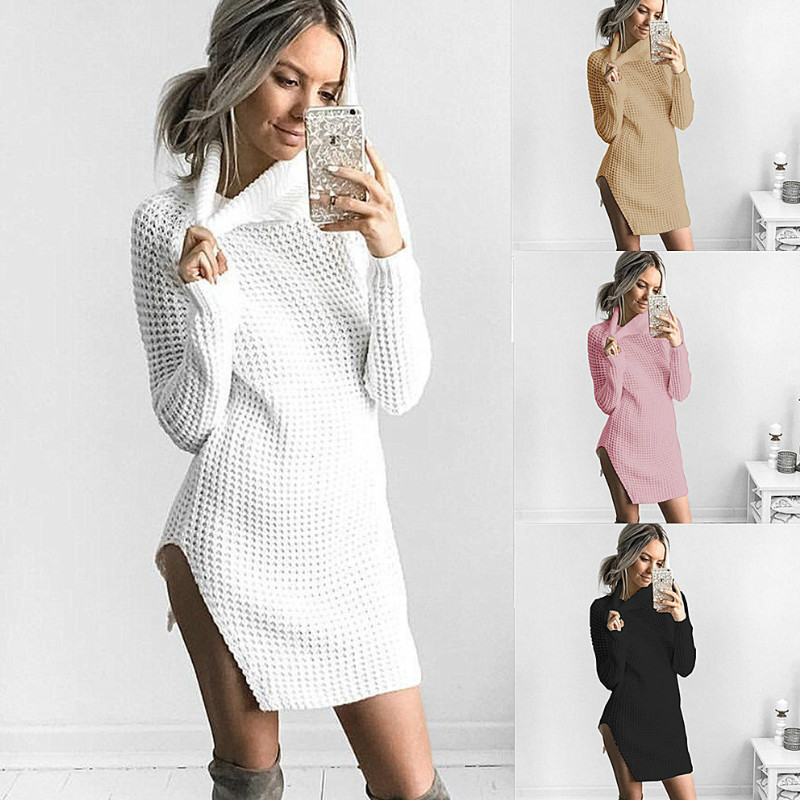 2018 Autumn New Women Knitted Dress Series Rib Turtle Neck Full Sleeve Split Sexy Sweater Party Dresses For Woman
