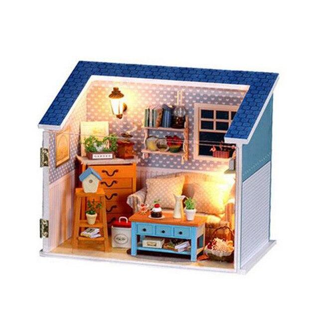 Beautiful Miniatur Haus Modell Handwerk Holz Puppenhaus Möbel Licht Kits DIY Sweet  Home Puppenhaus Geburtstagsgeschenk Weihnachtsgeschenk