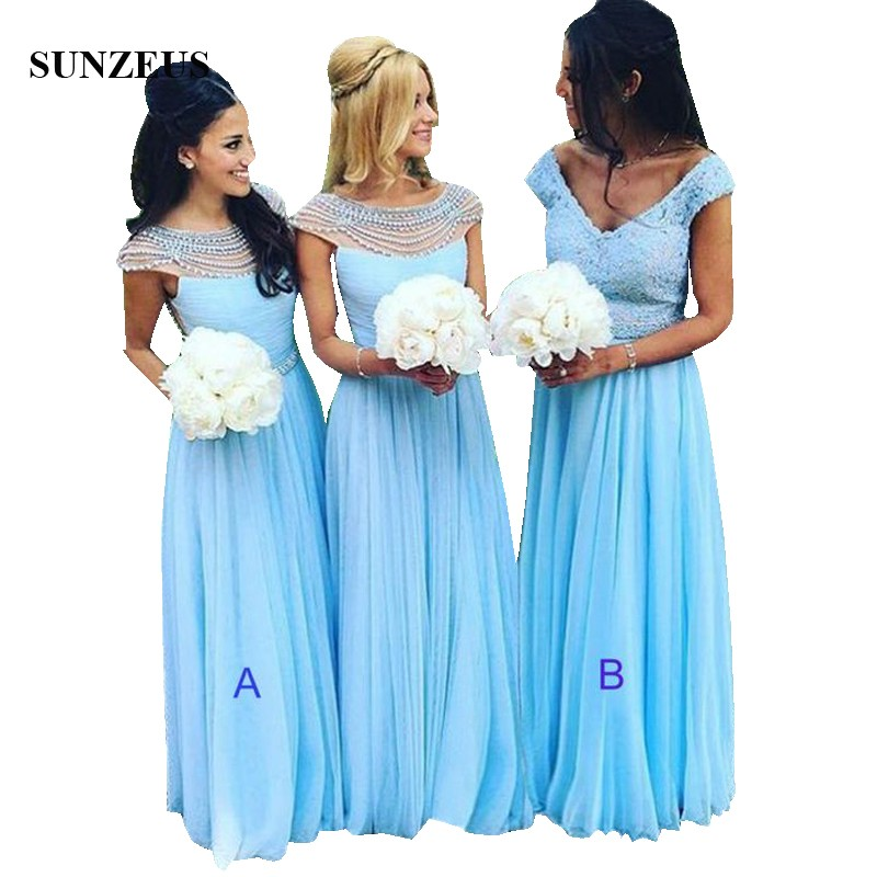 Beaded Neckline Cap Sleeve Long Blue   Bridesmaid     Dresses   Custom-made A-line Tulle Wedding Party Gowns For Women