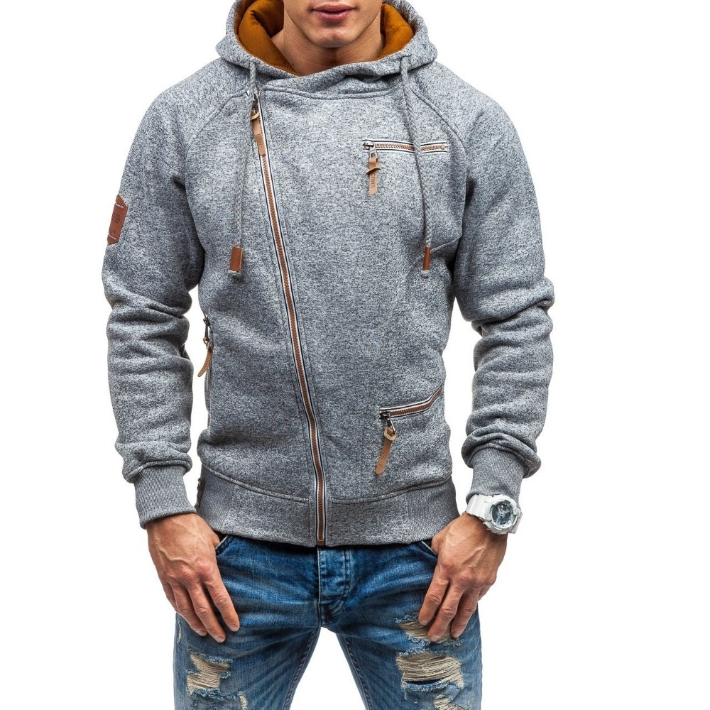 Autumn Winter Coat Oblique zipper Hoodies mens coats and jackets sportwear fitness Tracksuit fleece Jacket male Hoody Sweatshirt