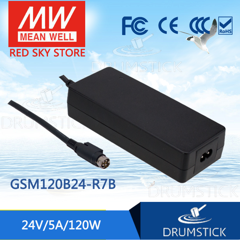 100% Original MEAN WELL GSM120B24-R7B 24V 5A meanwell GSM120B 24V 120W AC-DC High Reliability Medical Adaptor 1mean well original gsm160a24 r7b 24v 6 67a meanwell gsm160a 24v 160w ac dc high reliability medical adaptor