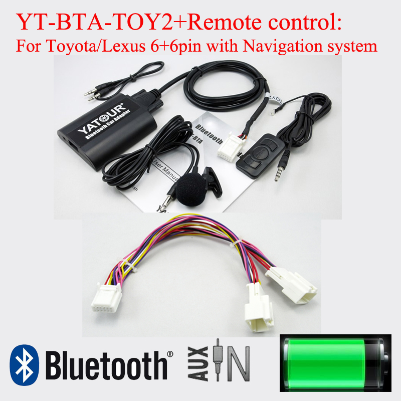 Yatour BTA Bluetooth car adapter with reomote control for Lexus Toyota 6+6pin radios yatour car digital music cd changer aux mp3 sd usb adapter 17pin connector for bmw motorrad k1200lt r1200lt 1997 2004 radios