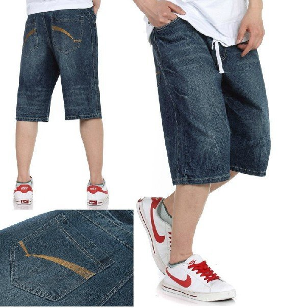Hot sale 2016 Men 100% cotton Gold thread embroidery HIPHOP jeans Plus size loose Skateboarding shorts .Free shipping !!! 30-46