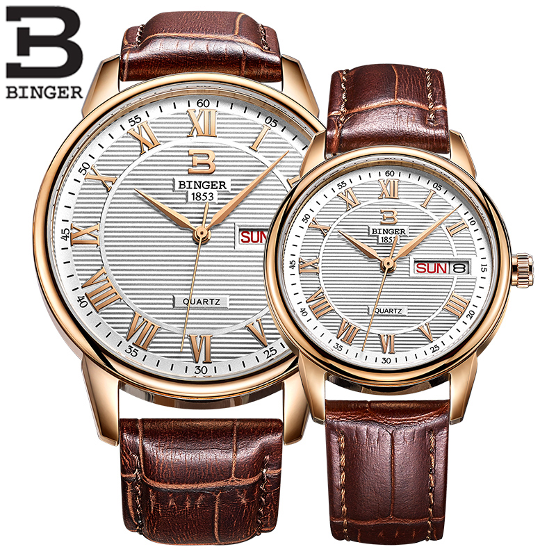 BINGER Lovers Couple Watches Luxury Brand Waterproof Roman Style Fashion Casual Quartz Leather Watch Ladies Wristwatches B3037M 2017 new binger fashion casual cow leather watches waterproof wristwatches hours for man sapphire orange quartz watch