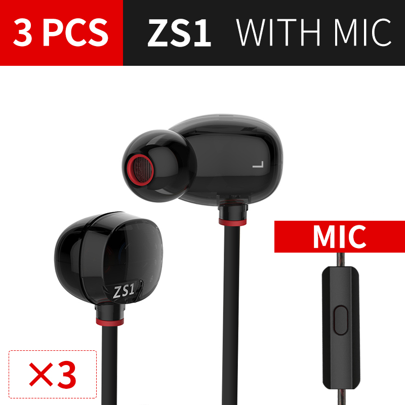 KZ ZS1 Headset 3PCS Dynamic Monitoring Noise Cancelling Stereo In-Ear Headphones HiFi Earphone With Microphone For Phone Gaming