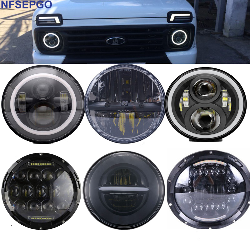 7 polegadas carro luz led farol para lada 4x4 drl 7 halo halo auréola frente farol com luzes diurnas para jeep jk nissan patrol y60