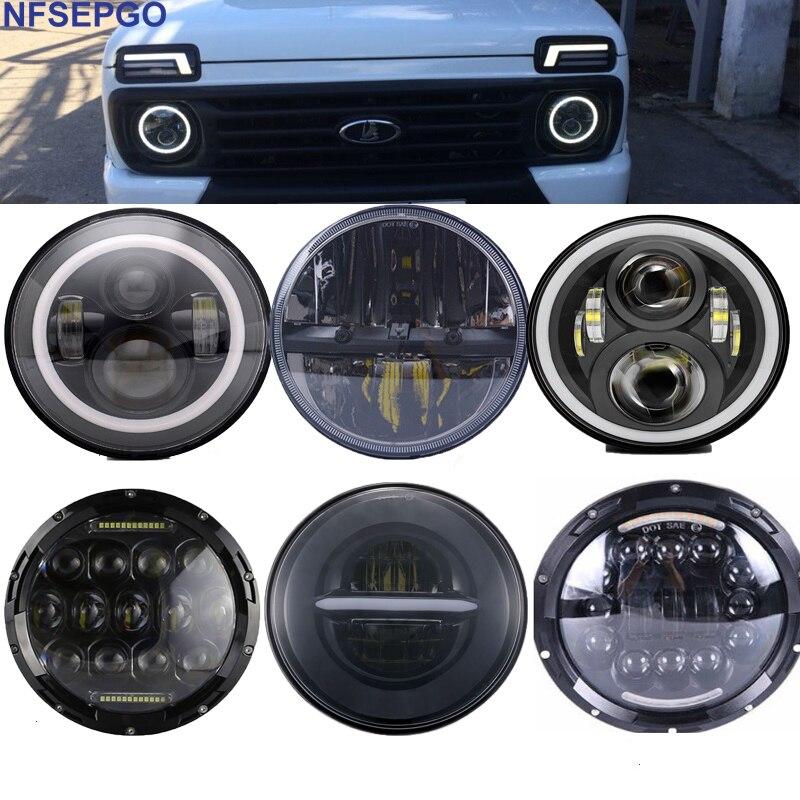 Phare de phare LED pour voiture de 7 pouces pour Lada 4x4 DRL 7 ''phare avant Halo avec feux de jour pour Jeep Jk Nissan patrouille Y60