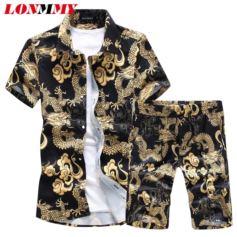 LONMMY Short Sleeve Shirts Men Camisa Male Slim Dragon Pattern Shirts+shorts Vintage Casual Men Shirt Sets New Fashion Summer