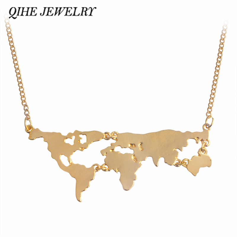 18K Gold Plated Personality World Map Combination Pendant Necklace aMSCuU41m