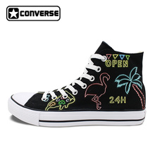 Black Hand Painted Shoes Converse All Star Design Neon Lights Kinds of Patterns Men Women s
