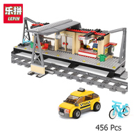 Lepin 02015 City Trains Series Compatible With Lego 60050 Train Station Rail Track Taxi Building Block