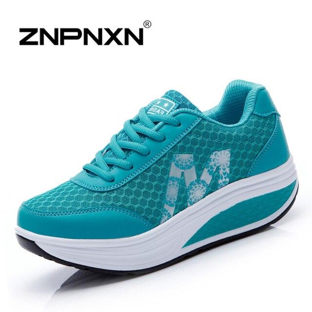 Nuevo 2016 de Las Mujeres Zapatos de Plataforma Enredaderas Ocasionales Mujer Zapatos de Encaje Hasta Zapatos de Las Señoras ZNPNXN Chaussure Femme