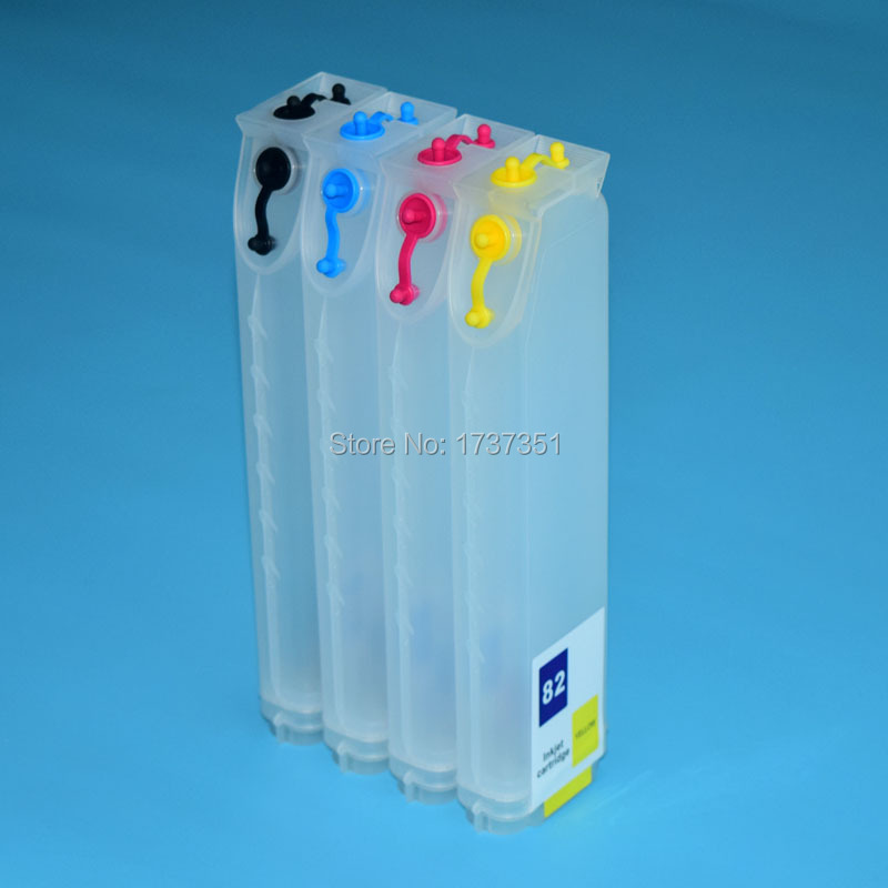 320ml 4 color refill ink cartridge with auto reset chip for HP 82 for HP Designjet