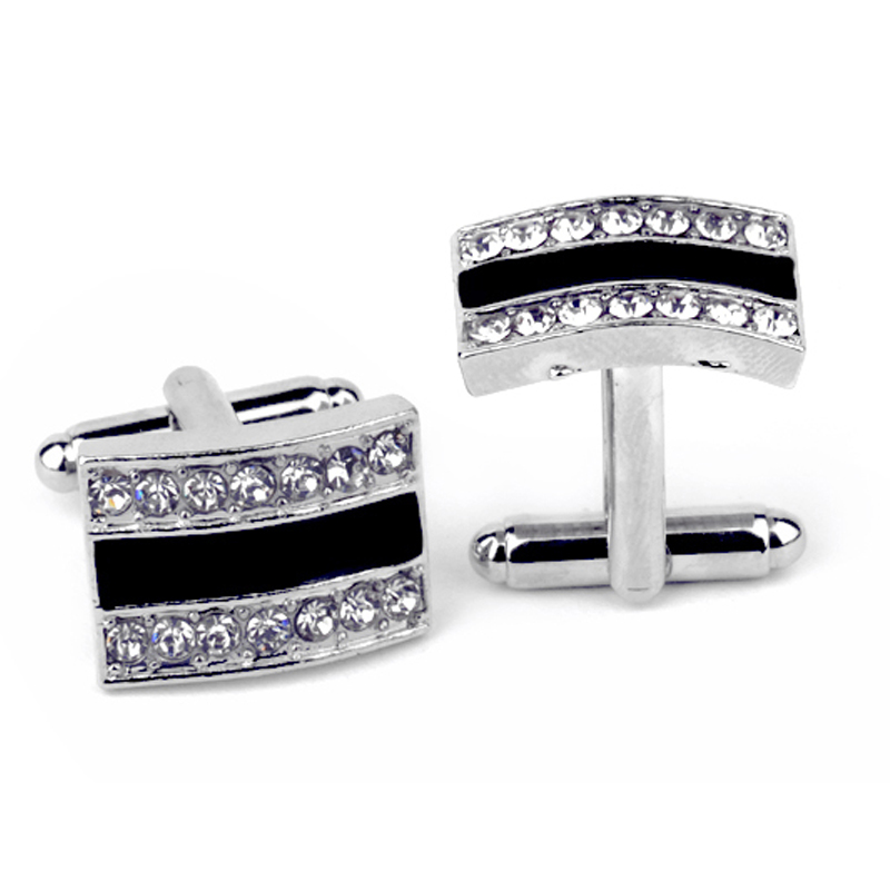 Mens Elegant Style Cufflinks Set Wedding Business Men's Jewelry Gift Fashion Black Brand Glazing Silver Color Cuff Buttons