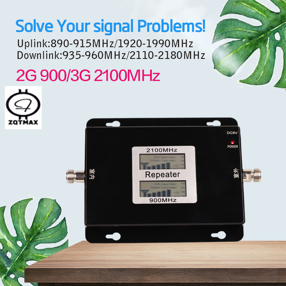 Dual Band Booster 3G Repeater Double Display GSM 900MHz UMTS 2100MHz Cell Phone WCDMA Repeaters 2G Amplifier Signal