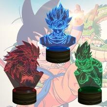 3D Bulbing Night Light Dragon Ball Z Super Saiyan God Goku Action Figures Color Changing Table Lamp For Boys Kids Gifts