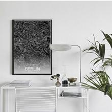 ZeroC Moderne Karte Von Berlin Deutschland Leinwand Kunstdruck Poster Wandbild Fr Wohnzimmer Dekoration Hogar Decor Malerei