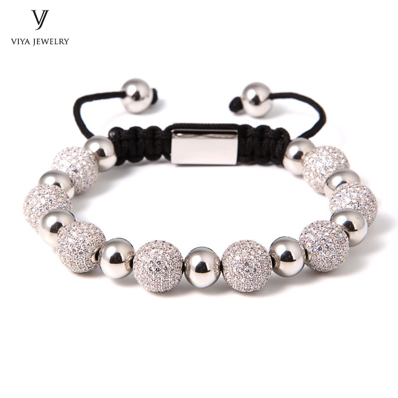Wholesale Fashion Luxury Drill Ball Black CZ Beads Steel Beads Macrame Braiding BraceletsMen/Women High-end Jewelry For Watch new anil arjandas macrame bracelets 18pcs rose gold micro pave black cz stoppers beads braiding macrame bracelet for men jewelry