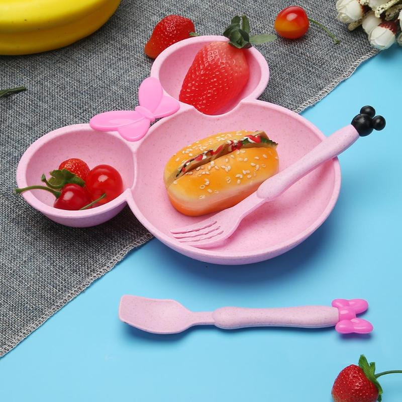 3 Pcs Bamboo Tableware Children Baby Solid Feeding Mickey Dishes Baby Bowl Plate Food Feeding Dinnerware Set Plates For Children