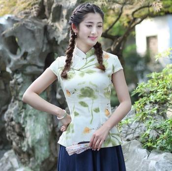 Shanghai story krótka koszulka Qipao damska chińska bluzka top cheongsam tradycyjna chińska lniana bluzka top 7 style tanie i dobre opinie COTTON Linen REGULAR MANDARIN COLLAR WOMEN guzik SHORT W stylu indie folk Z dzianiny Drukuj 2518 tangzhuang women Fashion