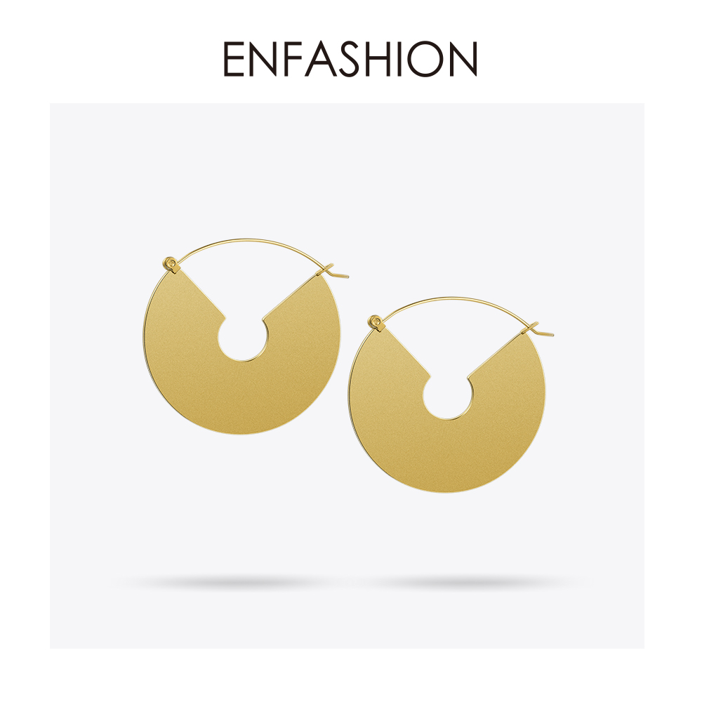 Enfashion Vintage Big Circle Dangle Ականջօղեր Matte Gold - Նորաձև զարդեր