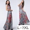 2016 лето платье без рукавов женщин большие качели большой размер макси длинное платье печати раффлед длина пола 6XL 7XL плюс размер платье