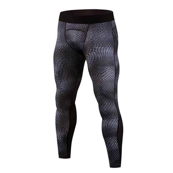 Новые мужские Компрессионные Леггинсы с принтом змеиной кожи, для спортивного зала и фитнеса, мужские обтягивающие штаны, Капри, спортивные штаны