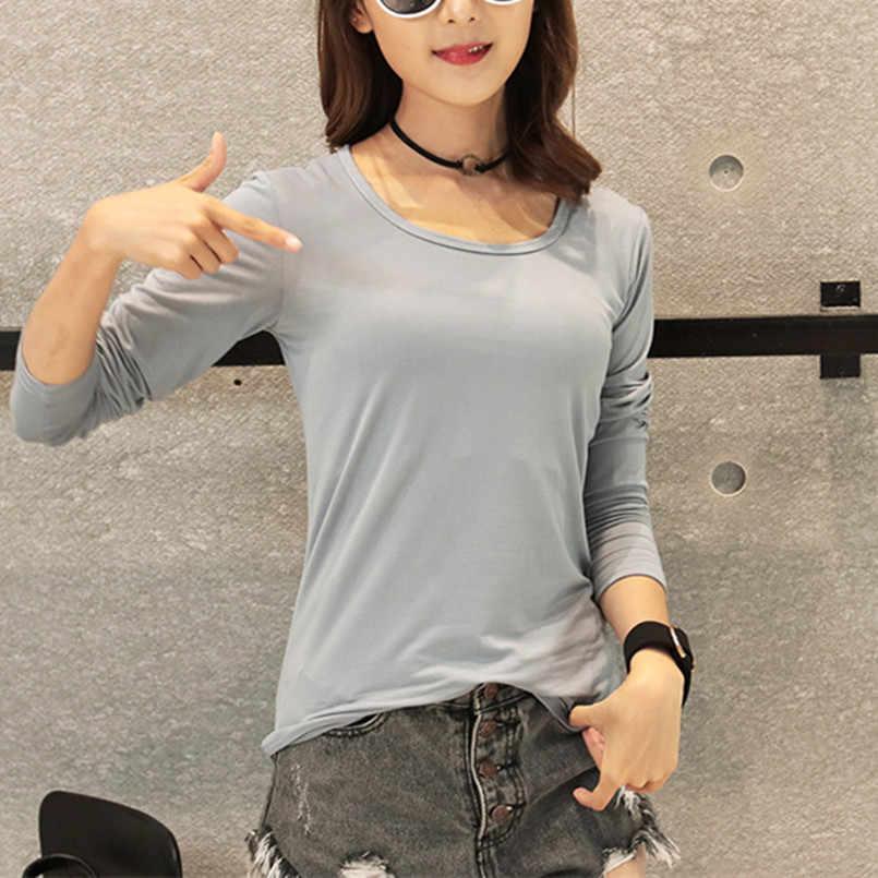 new 2019 autumn winter Women tops tees t-shirts long sleeve Casual tunic basic shirt tops t shirt also for kids gray