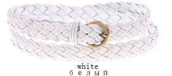 Горячая распродажа бренд ткачество из натуральной кожи тонкий пояса для женщин украшения фраке cummerbunds цвет полная длина 110 см - Цвет: Белый