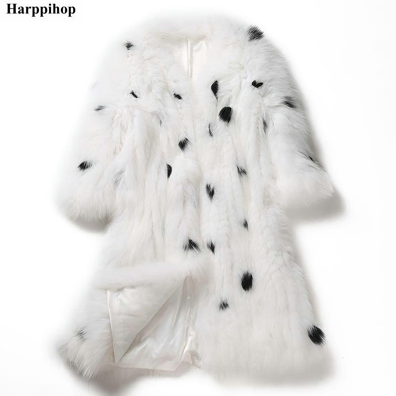 2018 New Natural Fur Coats Jackets Women Real Genuine Fox Fur Knitted Fur Women Plus Size Long Furs Coats