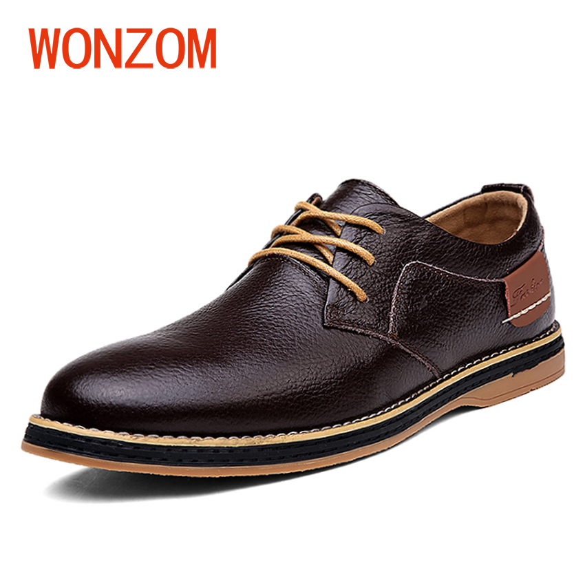 WONZOM High Quality Genuine Leather Men Casual Shoes Black Brown Blue Fashion Lace Up Flats Oxford 2018 New Arrival Sapatos good quality men genuine leather shoes lace up men s oxfords flats wedding black brown formal shoes