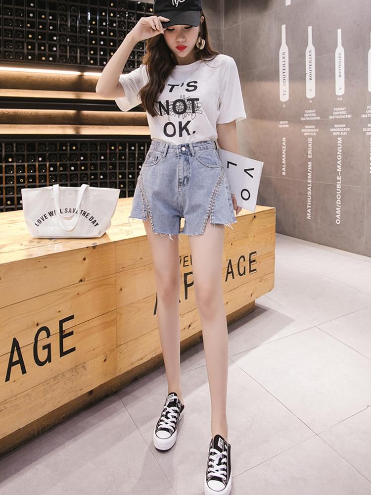 JUJULAND Women's Fashion Brand Vintage Tassel Rivet Ripped High Waisted   Short   Jeans Punk Sexy Hot Woman Denim   Shorts   6610