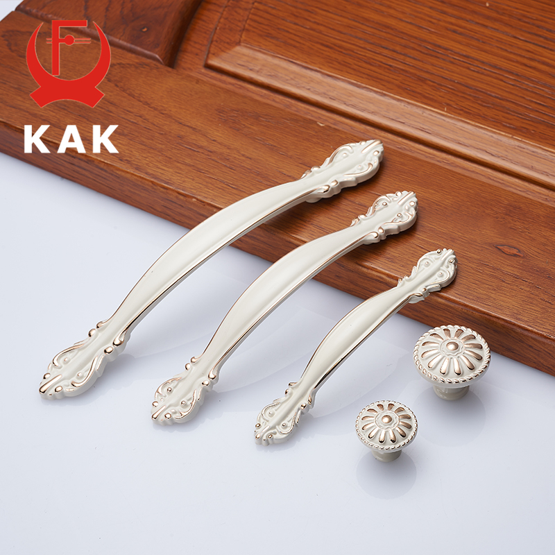KAK European Aluminum Alloy Cabinet Handles Wadrobe Door Pulls Drawer Knobs Kitchen Cupboard Handles Furniture Handle Hardware kak pumpkin ceramic handles 40mm drawer knobs cupboard door handles single hole cabinet handles with screws furniture handles