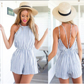 2015 Novas Mulheres Macacão Branco E Azul Padrão Listrado Backless Spaghetti Strap Jumpsuit Halter Top Fashion Plissada Playsuit115