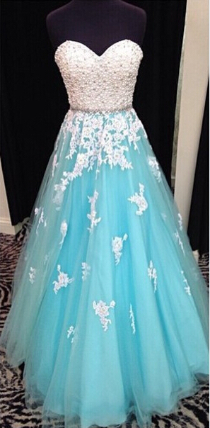 Real Image Applique Pearls Beaded Sweetheart Floor Length